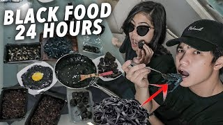 We Only Ate BLACK FOOD For 24 Hours!?   Ranz and Niana