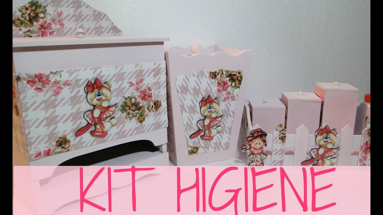 Armario De Cozinha Casas Bahia Bartira Carla ~ kit higiene beb u00ea com tecido floral YouTube
