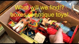 Trunk full of toys! digging through boxes and boxes of antique toys!