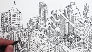 How to Draw a City in 3D Detail