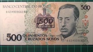 Обзор банкнота БРАЗИЛИЯ, 500 крузадо, 1990 год, Аугусто RUSCHI, бона,купюра, бонистика, нумизматика,
