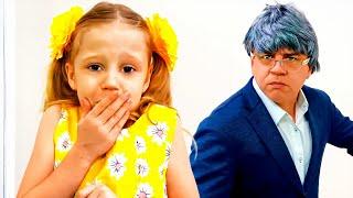Nastya e pai finge ser professora e aluno, Vídeos Educativo Infantil