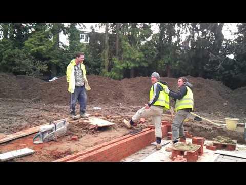 Builder plays a prank on fellow worker.