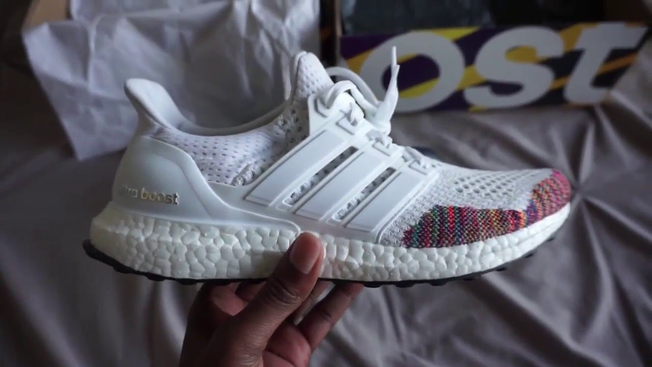 fe278146f162c adidas Ultra Boost Multicolor Rainbow Unboxing     Review - YouTube