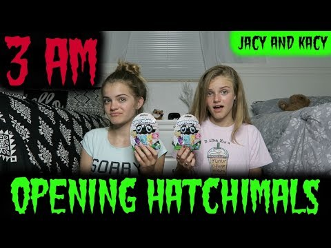 Thumbnail: Opening Hatchimals CollEGGtibles at 3 AM ~ Scary Challenge ~ Jacy and Kacy