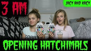 Opening Hatchimals CollEGGtibles at 3 AM ~ Scary Challenge ~ Jacy and Kacy