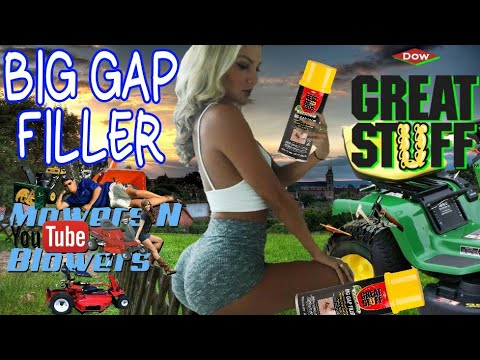 FIXING A RIDING MOWER LAWN TRACTOR SEVERELY DRY ROTTED CRACKED TIRE GREAT STUFF FOAM BIG GAP FILLER