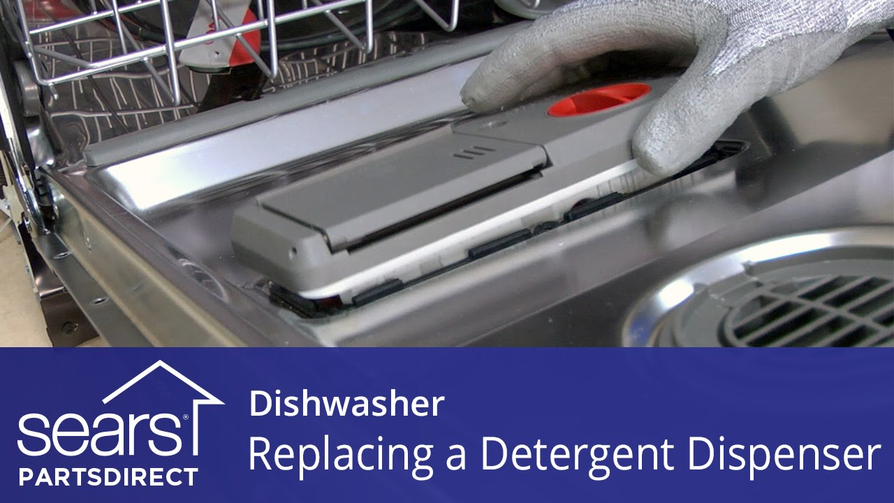 Replacing The Detergent Dispenser On A Dishwasher Sears Partsdirect