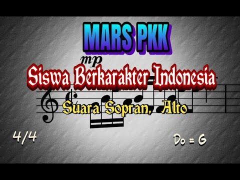 Notasi lagu Mars PKK Siswa Berkarakter Indonesia, Suara Sopran dan Alto
