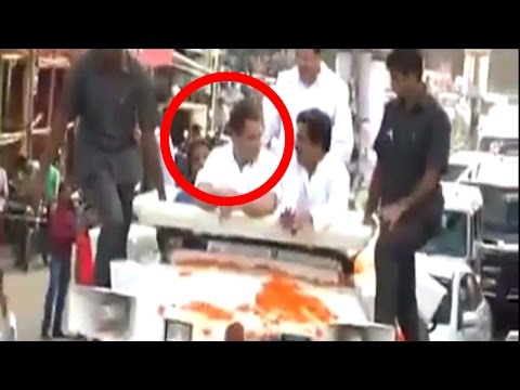 Shoe Hurled At Rahul Gandhi During A Road Show In Uttar Pradesh