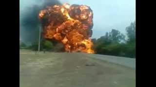 Oil Tanker blast accident with truck