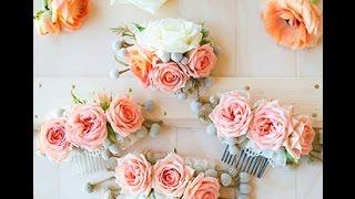 видео Свадебные заколки для волос - из фоамирана, для прически невесты