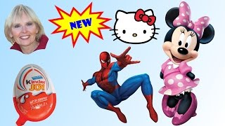 ♥♥  5 Surprise Eggs - Disney Princess, Spiderman, Hello Kitty,   Minnie Mouse, and Kinder Joy