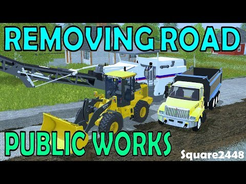 Farming Simulator 17 Public Works - Removing Road & Laying Gravel - Front Loader - New Machine