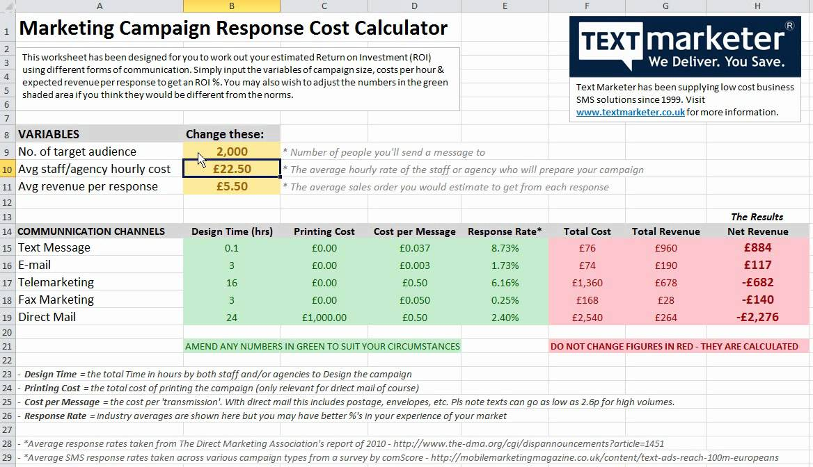 Free Marketing Campaign Cost And Return Excel Calculator - Youtube