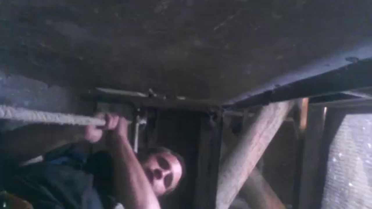 Going up a 90' rope pull elevator inside a grain silo
