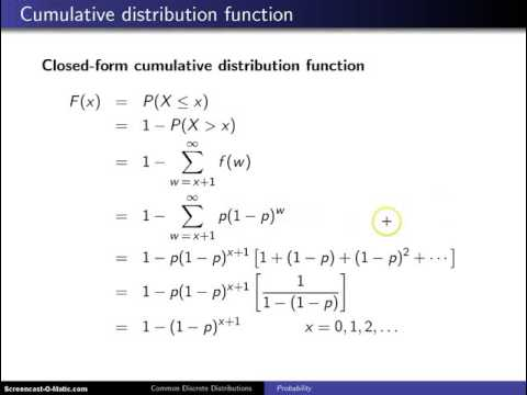 Geometric distribution cumulative distribution function