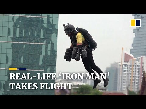 'Iron Man' shows off jet suit in flight above Bangkok, Thailand