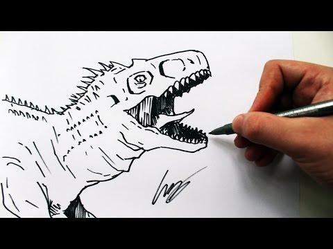 como desenhar um indominus rex j w dinossauro how to draw a
