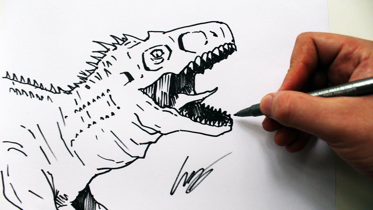 Como Desenhar Um Dinossauro Velociraptor How To Draw A