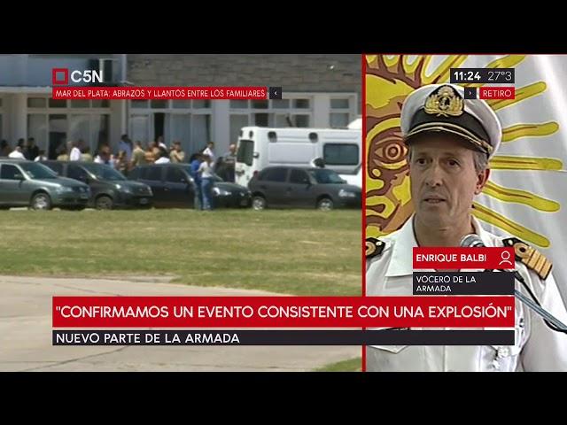 """Submarino: último parte """"Confirmamos un evento consistente con una explosión"""""""