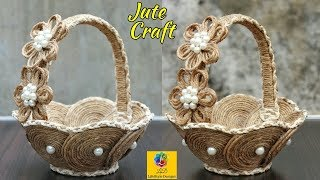 DIY Flower Basket with Jute Rope and Cardboard | Jute Rope Flower Basket | Jute and Cardboard Craft