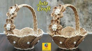 DIY Flower Basket with Jute Rope and Cardboard | Jute Rope Flower Basket | Jute and Cardboard Craft
