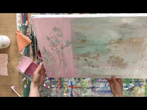 abstract-painting-technique,-simple-tools,-spatula,-for-beginners,-structure,-gold-foil