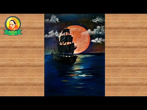 Acrylic painting of Moonlight night sky with a lonely ship | Moonlight night sky with ship