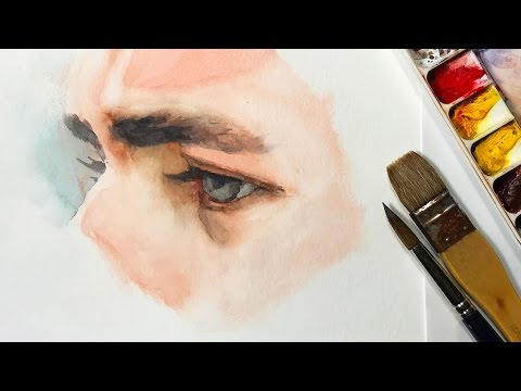 Watercolor Portrait Workshop 1 - Man in Profile - lesson 3: Watercolor Study of the Eye
