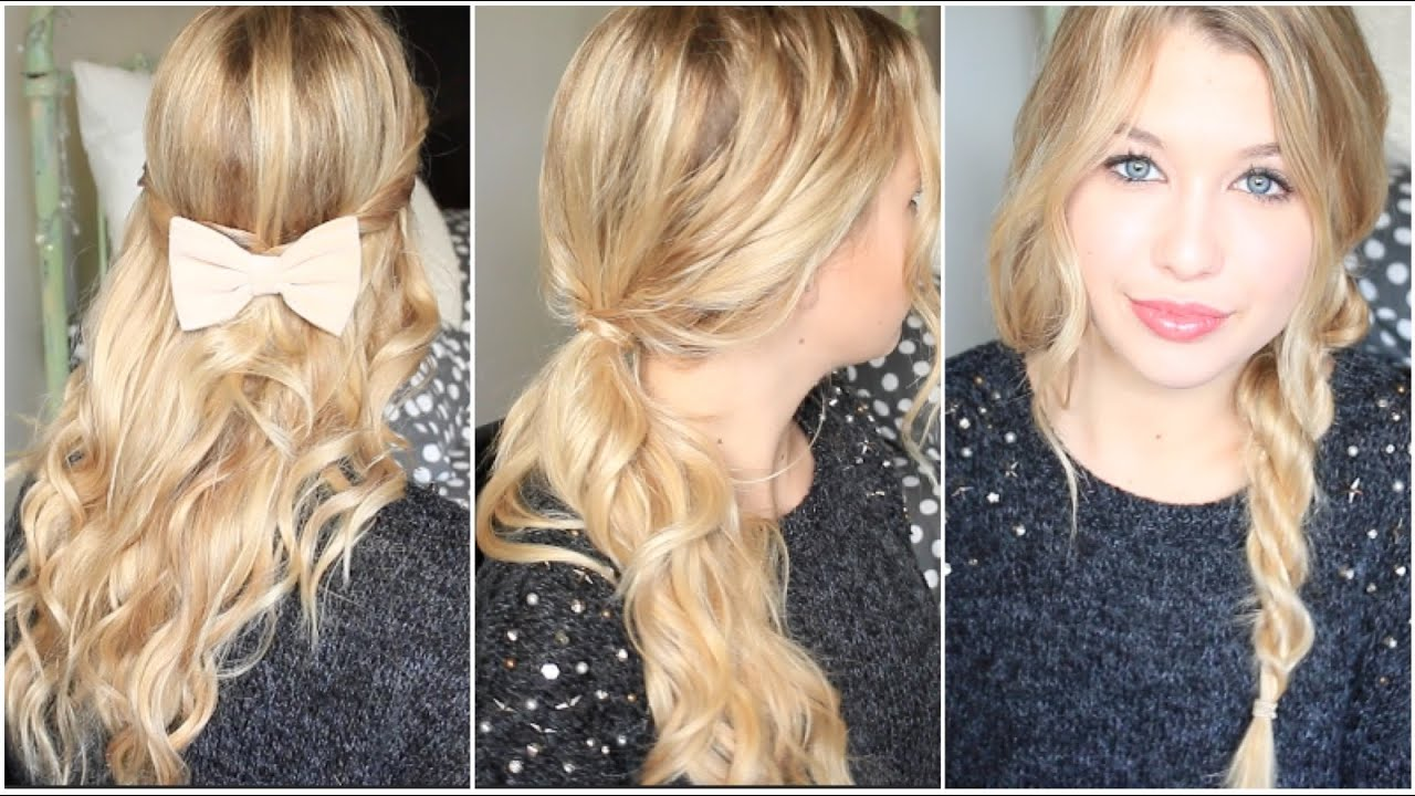 [ Tutoriel Coiffure n° 32 ]  3 coiffures pour cheveux bouclés ! , YouTube