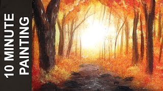 Painting a Misty Autumn Forest Landscape with Acrylics in 10 Minutes!
