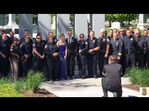 Cops Surprise Daughter of Fallen Officer with Tearful Prom Send-Off at His Grave