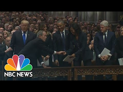George W. Bush Continues Sweet Tradition With Michelle Obama At Dad's Funeral | NBC News