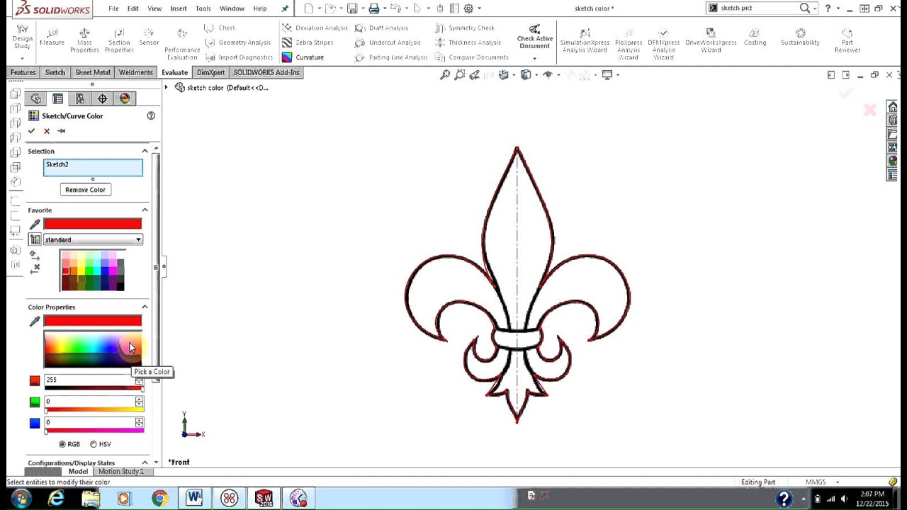 Changing Sketch Color - SOLIDWORKS 3D CAD