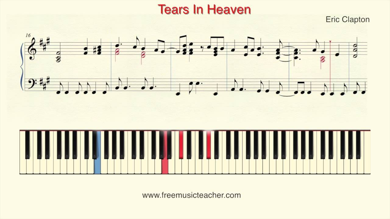 "Eric clapton ""tears in heaven"" sheet music (cello solo) in g major."