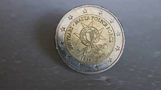 Super rare (300,000 only!!)   2 Euro Malta Police Force Coin