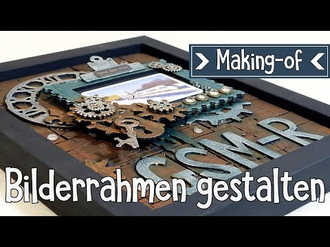Bilderrahmen Gestalten | Mixed Media | Photo Frame | DEUTSCH | Abschiedsgeschenk Kollege