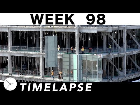 Construction time-lapse with 30 closeups Week 98: Curtain wall glass, cranes, and more