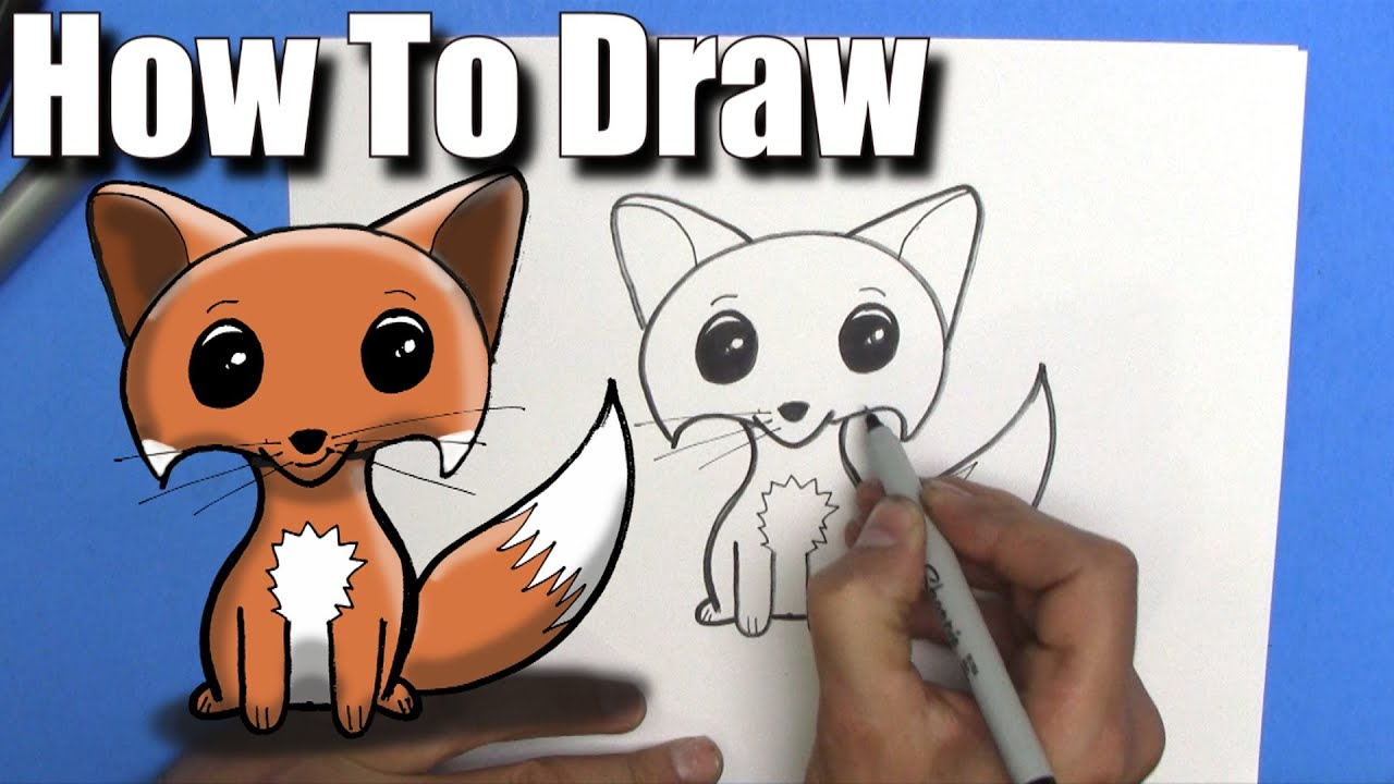 How To Draw a Cute Easy Fox - Step By Step - YouTube