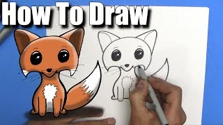 How To Draw a Cute Easy Fox - Step By Step