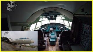 Exploring Passenger Old Soviet Plane Tupolev TU 154 Inside Cockpit. National Aviation Museum