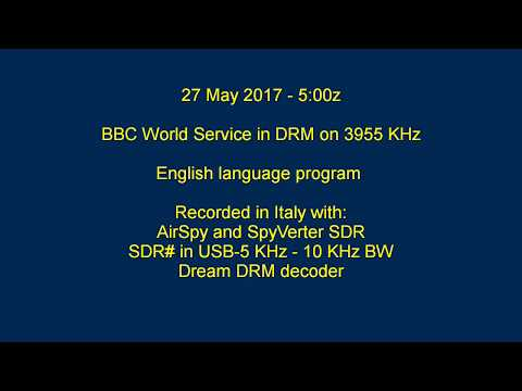 BBC World Service in DRM on 3955 KHz, English program, 27 May 2017