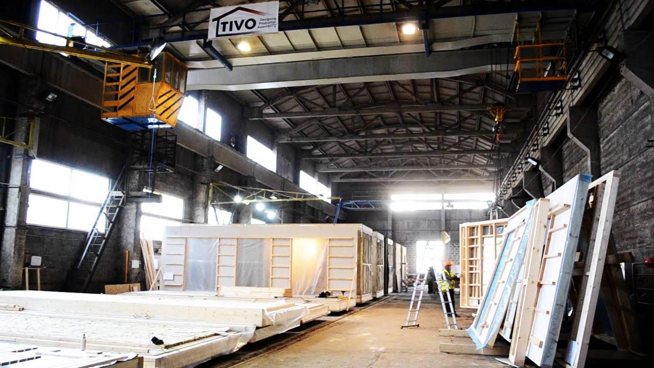 TIVO Timber Frame Modular Houses Factory - YouTube