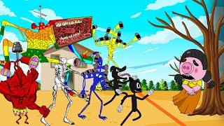MeGa Siren Head, Cartoon Cat, Cartoon Dog In Squid Game #2 | Roblox Piggy Animation | GV Studio