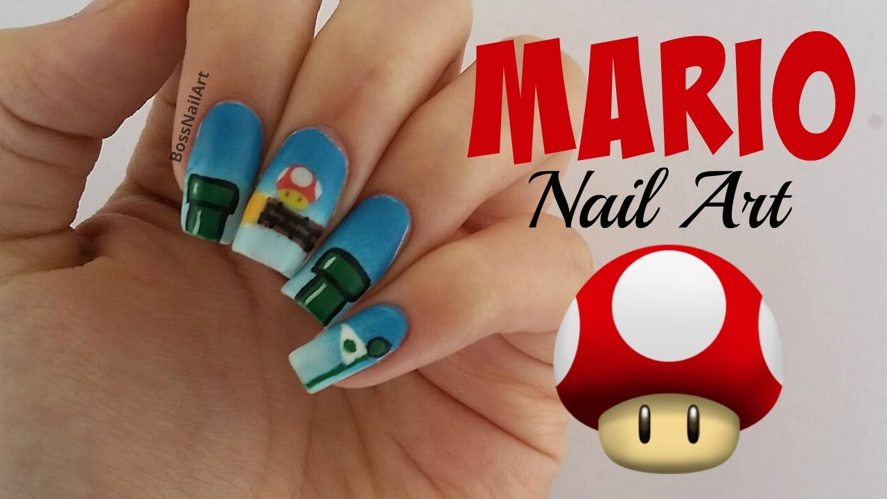 Mario Nail Art Design Gaming Nail Art Youtube