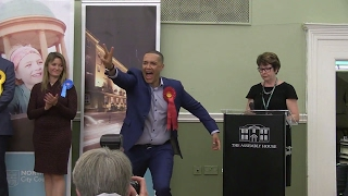General election: Norwich South MP Clive Lewis reacts after winning huge majority