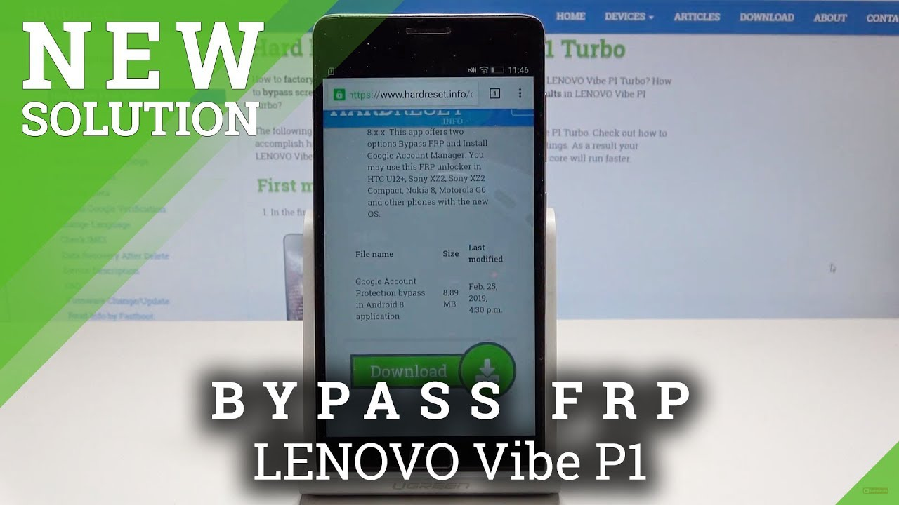 How to bypass Google Account protection in LENOVO P2 with