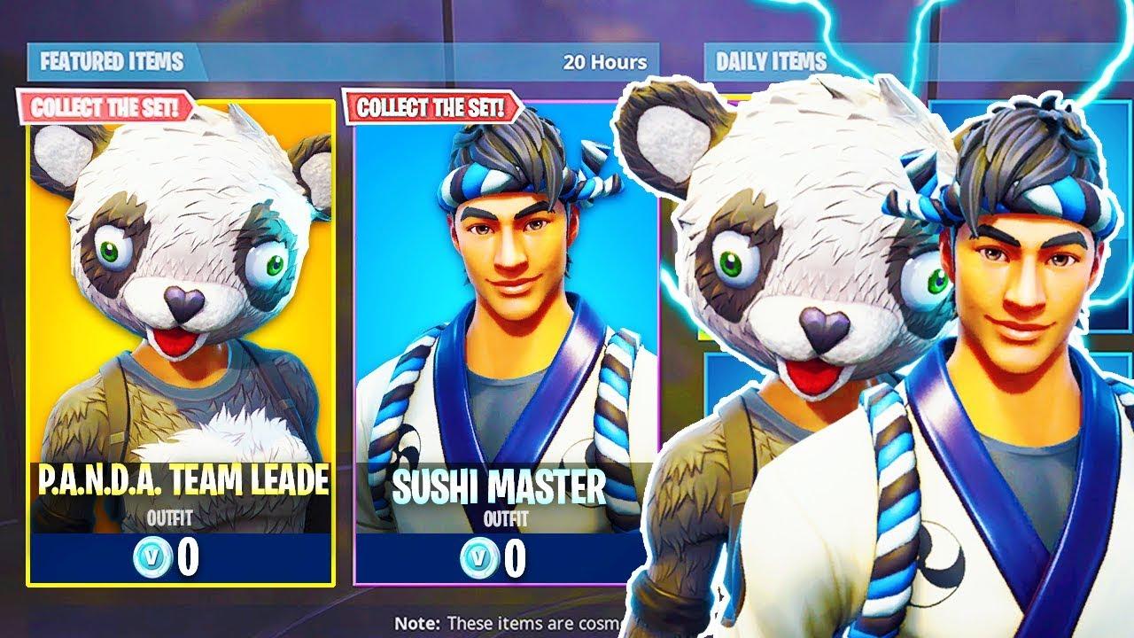 New panda team leader sushi master skins in fortnite - Sushi skin fortnite ...