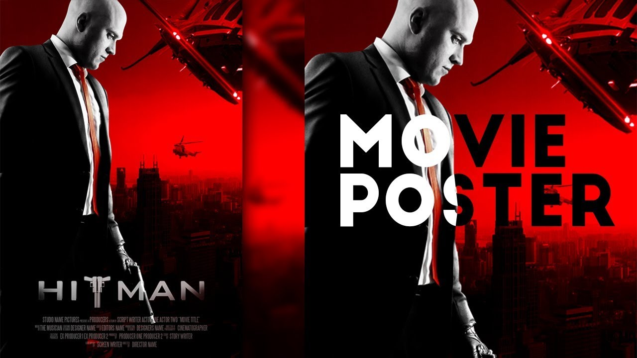 Make Hitman Movie Poster With Dark Black And Red Tone In Photoshop